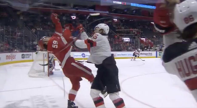 John Hayden of the New Jersey Devils decided to show Tyler Bertuzzi of the Detroit Red Wings his best Zdeno Chara impression on Tuesday. (Twitter/HeresYourReplay)