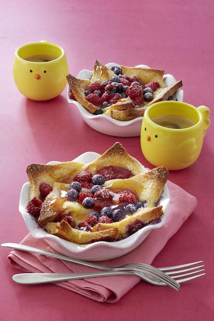 """<p>French toast in bowl form means more room to pool fresh fruit and yummy maple syrup.</p><p><strong><em><a href=""""https://www.womansday.com/food-recipes/recipes/a58132/french-toast-bowls-recipe/?visibilityoverride"""" rel=""""nofollow noopener"""" target=""""_blank"""" data-ylk=""""slk:Get the French Toast Bowls recipe"""" class=""""link rapid-noclick-resp"""">Get the French Toast Bowls recipe</a>.</em></strong></p>"""