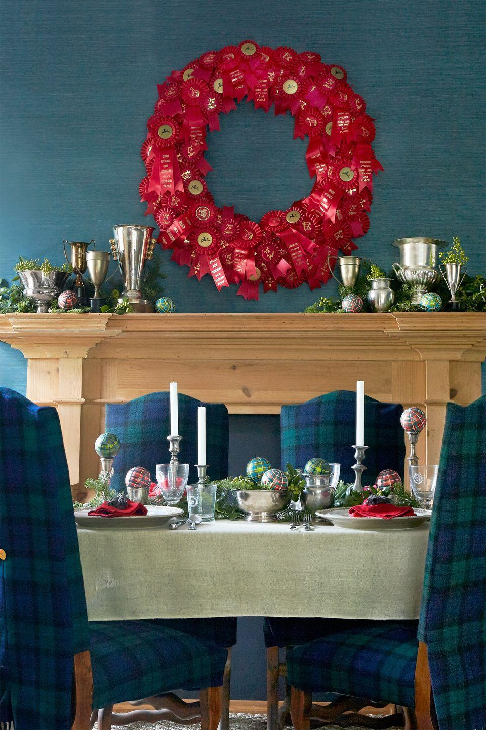 """<p><a href=""""https://www.countryliving.com/home-design/decorating-ideas/g2179/country-christmas-decorating-ideas/#slide-8"""" rel=""""nofollow noopener"""" target=""""_blank"""" data-ylk=""""slk:Equine escapes"""" class=""""link rapid-noclick-resp"""">Equine escapes</a> like Lexington, Kentucky, and Millbrook, New York, inspired this tailored and traditional dining room. Finds like plaid ornaments and a <a href=""""https://www.countryliving.com/diy-crafts/how-to/g1056/diy-wreath-ideas/#slide-1"""" rel=""""nofollow noopener"""" target=""""_blank"""" data-ylk=""""slk:homemade wreath"""" class=""""link rapid-noclick-resp"""">homemade wreath</a> made of vintage horse show ribbons complete the look.</p><p><a class=""""link rapid-noclick-resp"""" href=""""https://www.amazon.com/s/ref=nb_sb_noss?url=search-alias%3Daps&field-keywords=plaid+ball+ornaments&rh=i%3Aaps%2Ck%3Aplaid+ball+ornaments&tag=syn-yahoo-20&ascsubtag=%5Bartid%7C10050.g.1247%5Bsrc%7Cyahoo-us"""" rel=""""nofollow noopener"""" target=""""_blank"""" data-ylk=""""slk:SHOP PLAID ORNAMENTS"""">SHOP PLAID ORNAMENTS</a></p>"""