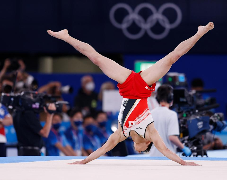 <p>Takeru Kitazono of Japan competes in the floor exercise during the July 26 men's gymnastics team final. </p>