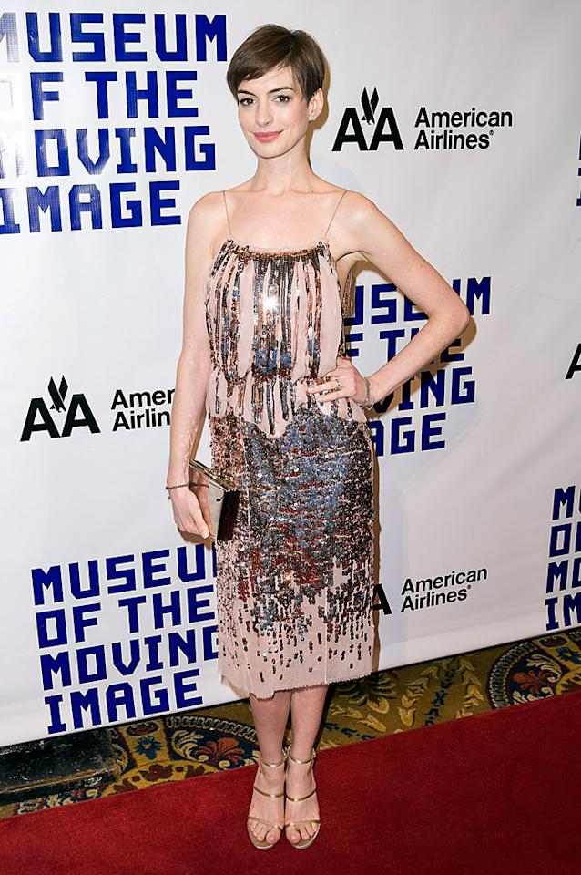 Anne Hathaway at the Museum of the Moving Image Salute To Hugh Jackman at Cipriani Wall Street. Pictured: Anne Hathaway  Ref: SPL470415  111212  Picture by: Orion / Splash News   Splash News and Pictures Los Angeles:310-821-2666 New York:212-619-2666 London:870-934-2666 photodesk@splashnews.com