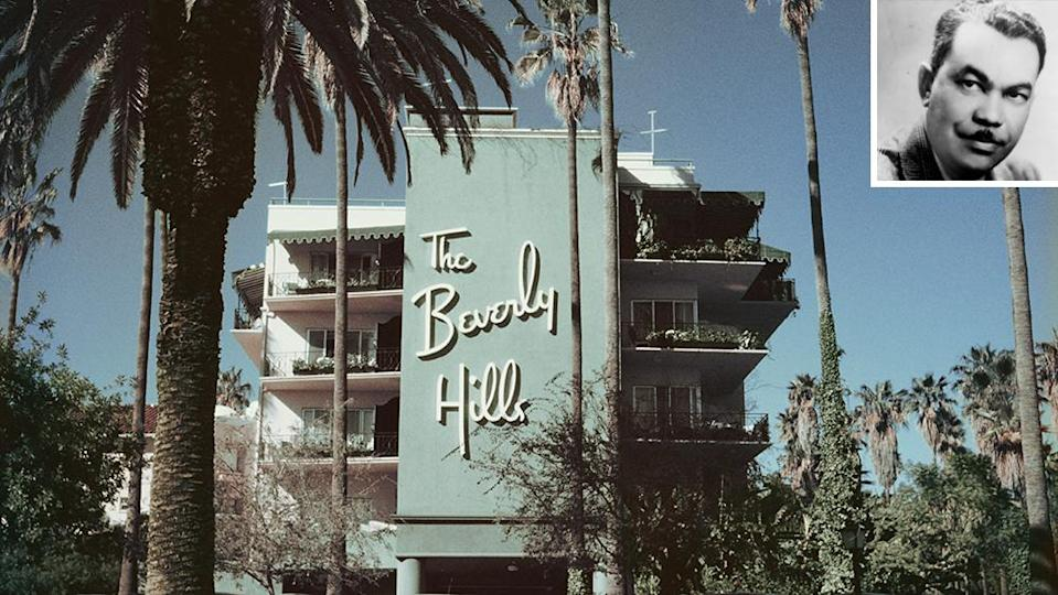 The swoopy logo of The Beverly Hills Hotel and its pink-and-green color scheme was contributed by Paul Williams. - Credit: Slim Aarons/Getty Images