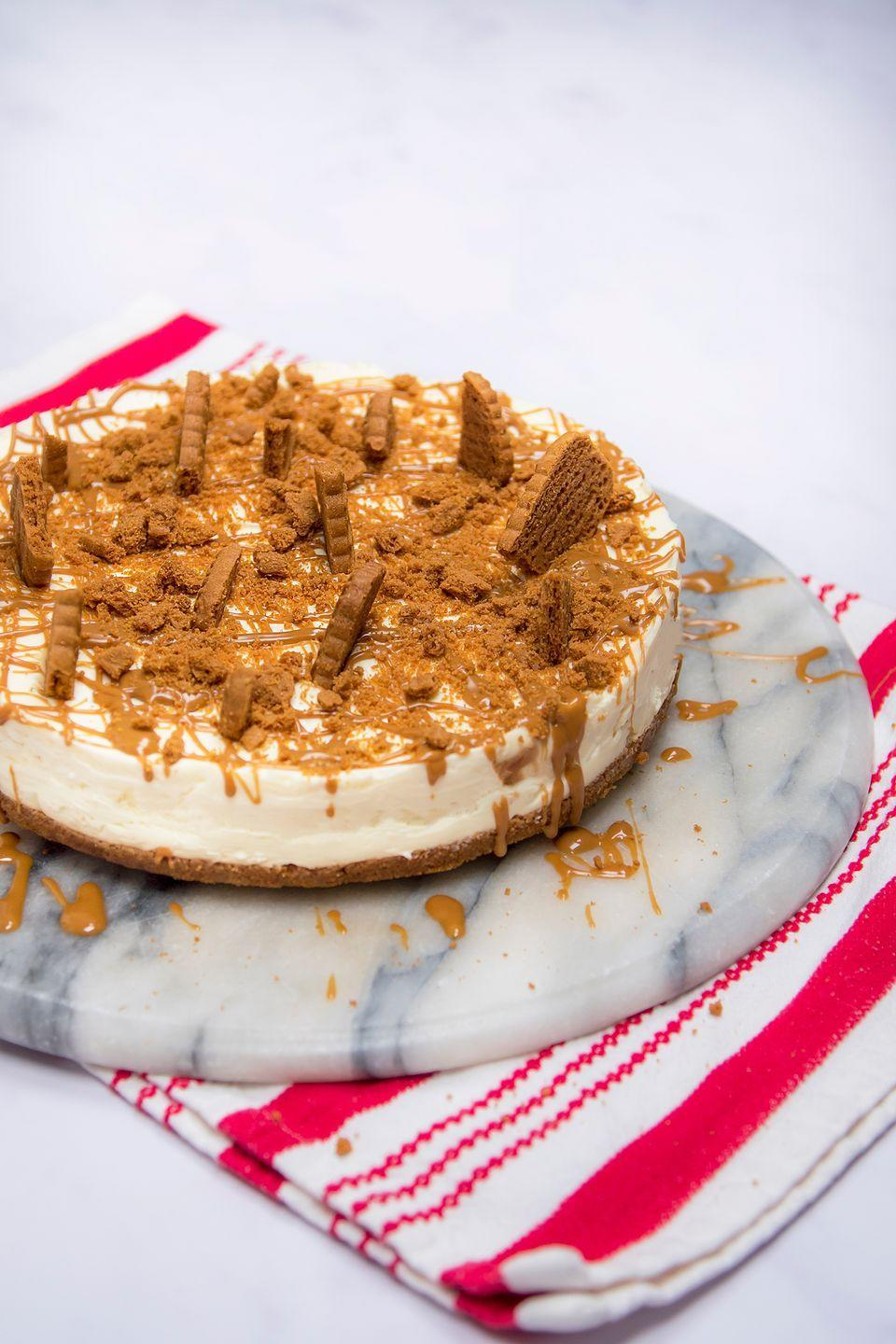 """<p>Rich and full of caramel flavour, this cheesecake is perfect for the Biscoff lover in your life</p><p><strong>Recipe: <a href=""""https://www.goodhousekeeping.com/uk/food/recipes/a26058618/biscoff-cheesecake/"""" rel=""""nofollow noopener"""" target=""""_blank"""" data-ylk=""""slk:Biscoff cheesecake"""" class=""""link rapid-noclick-resp"""">Biscoff cheesecake</a></strong></p>"""