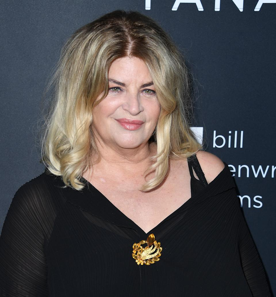 """Kirstie Alley arrives at the Premiere Of Quiver Distribution's """"The Fanatic"""" at the Egyptian Theatre on August 22, 2019 in Hollywood, California. (Photo by Steve Granitz/WireImage,)"""