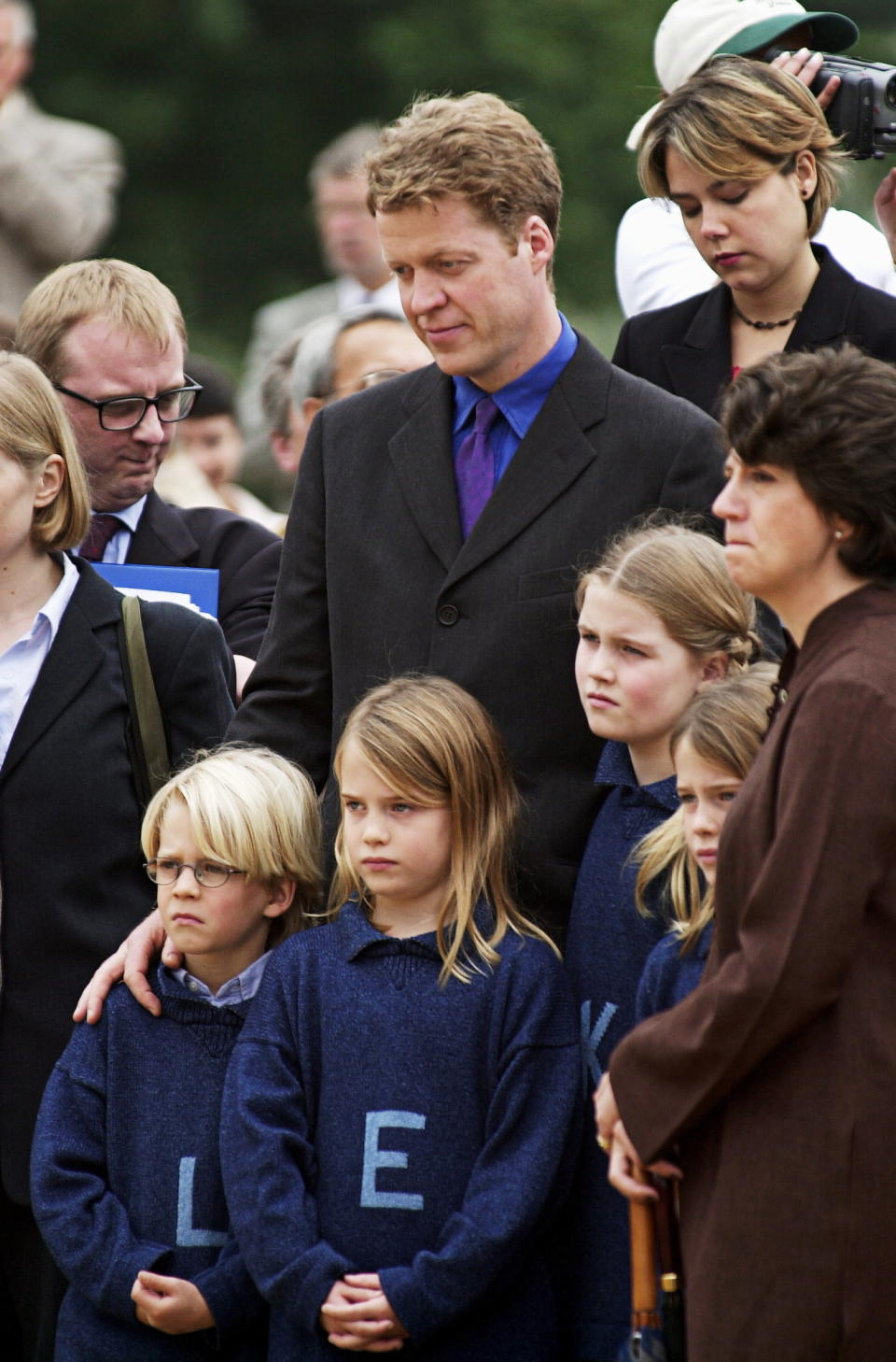 LONDON, UNITED KINGDOM - JUNE 30:  Charles,earl Spencer, Brother Of The Princess Of Wales,  With His Children At Opening Of The Princess Of Wales Memorial Playground In Kensington Gardens In London.  L To R: Louis [ Viscount Althorp ], Eliza, Kitty, Amelia  (Photo by Tim Graham Photo Library via Getty Images)