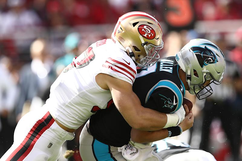 Nick Bosa with one of his three sacks on Sunday against Carolina. (Getty Images)