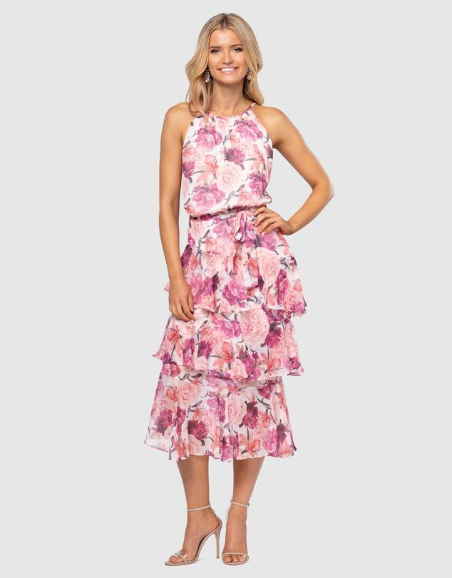 Pilgrim pink floral roses cocktail Christmas summer party maxi midi dress