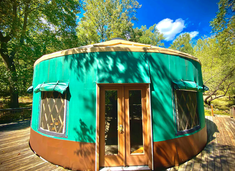 "<h3><a href=""https://www.airbnb.com/rooms/65010"" rel=""nofollow noopener"" target=""_blank"" data-ylk=""slk:Yurt Mountain Retreat"" class=""link rapid-noclick-resp"">Yurt Mountain Retreat</a></h3> <br>""Come experience living in a round structure filled with amenities — fully equipped kitchen, deep tub, heating and AC, shared hot tub and seasonal salt water pool. Great for couples, friends, and families. A 10-minute hike gets you into Shenandoah National Park or [you can] explore our 58 acres on numerous walking trails. Visit Charlottesville, historical sites, caves, or play in rivers in central Virginia.""<br><br><strong>Location: </strong>Stanardsville, Virginia<br><strong>Sleeps: </strong>6<br><strong>Price Per Night: </strong>$185<span class=""copyright"">Photo: Courtesy of Airbnb.</span><br><br><br><br><br>"