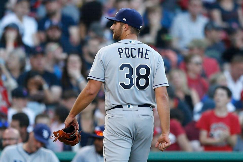 Rays rookie Colin Poche walked a mile through the streets of Boston so he wouldn't be late an MLB debut that he ultimately lost. (AP Photo/Michael Dwyer)