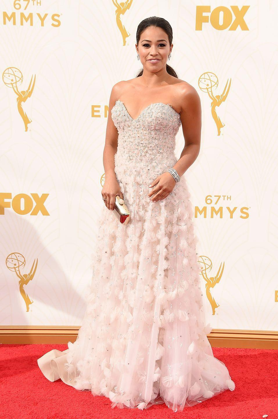 <p>Rodriguez did not look like an Emmy carpet virgin when she wore this stunning gown in 2015. </p>