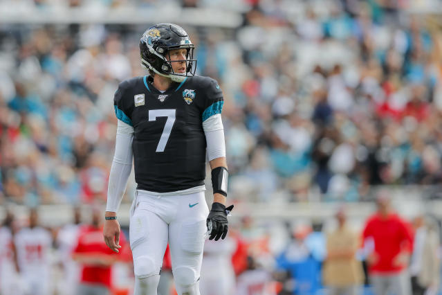 Nick Foles was benched in the Jaguars' loss to Tampa Bay. (Photo by James Gilbert/Getty Images)