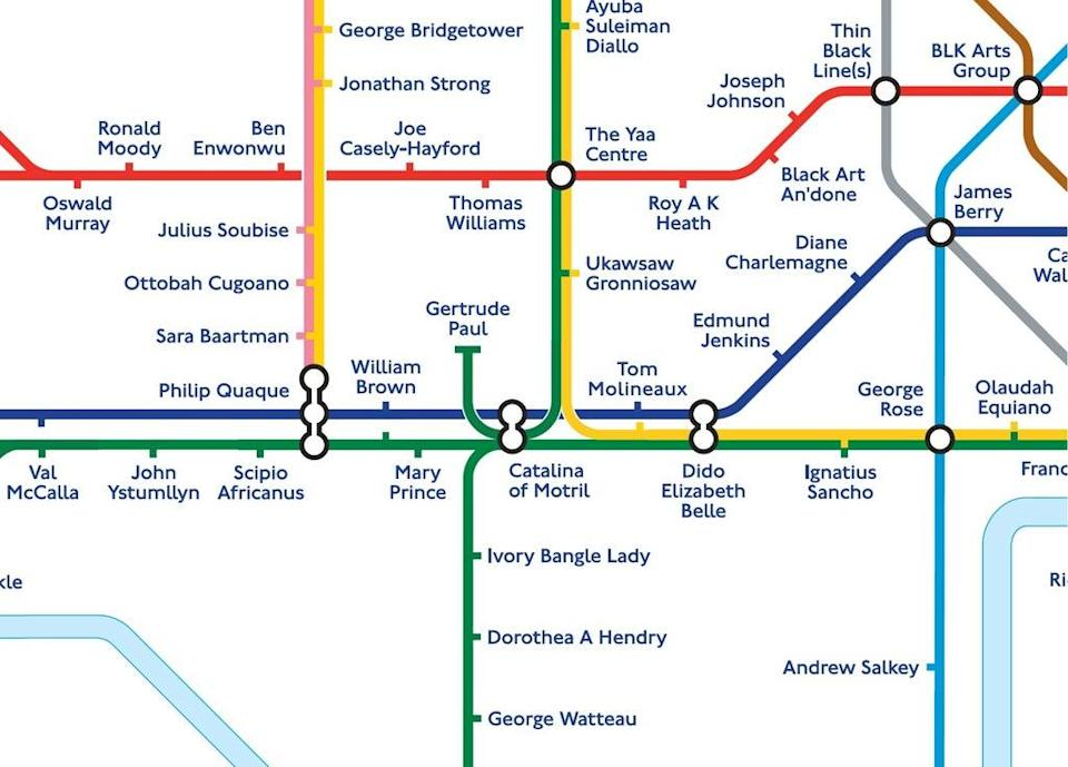 A black history Tube map where 272 station names have been replaced by notable black figures from pre-Tudor times (PA)