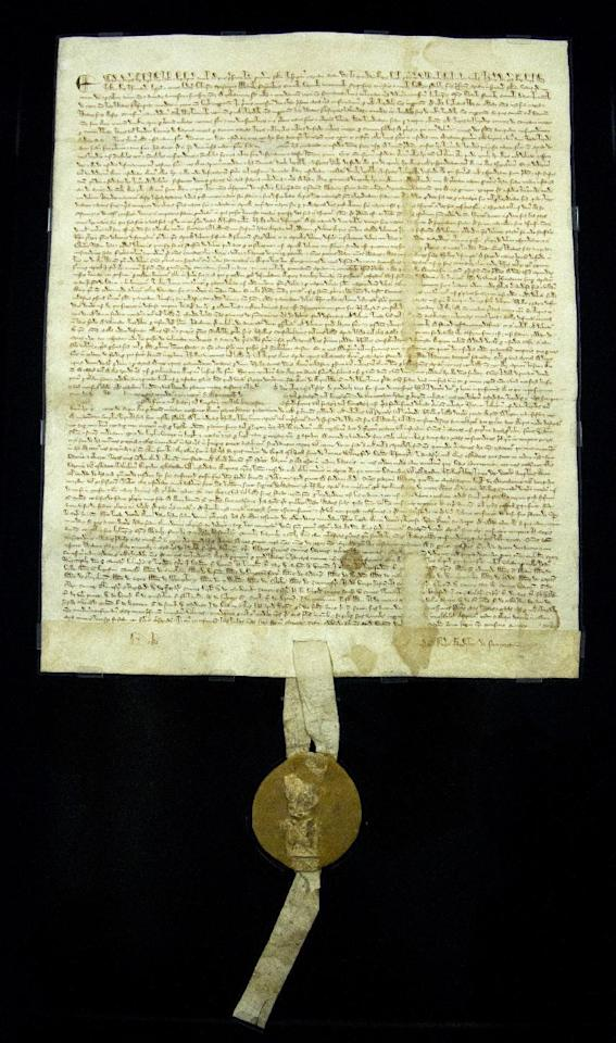 The original 1297 Magna Carta sits in its new state-of-the-art encasement, Thursday, Feb. 2, 2012, at the National Archives in Washington. (AP Photo/Manuel Balce Ceneta)