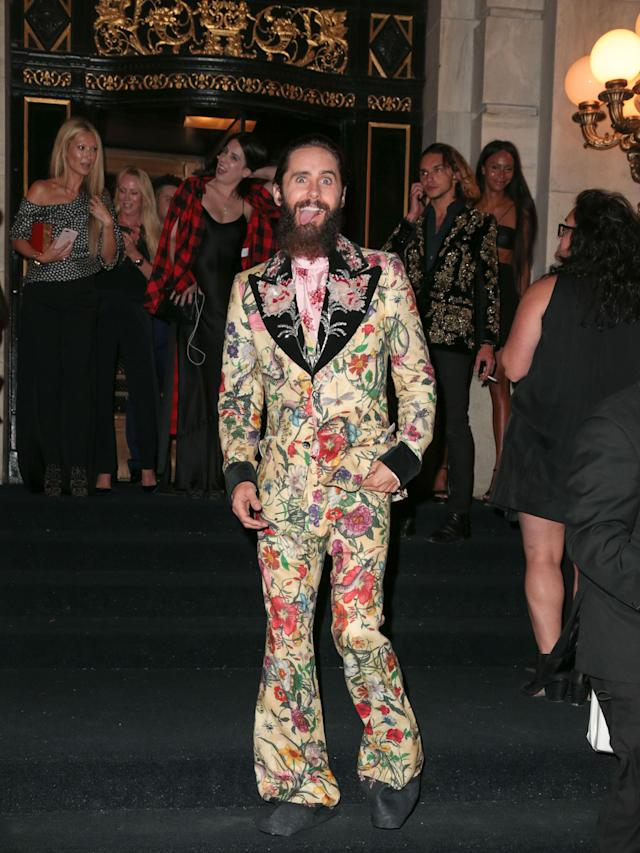 Jared Leto's wild style stood out, even among the floss and gloss of the Harper's Bazaar Icons party. (Photo: Getty Images)
