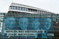 CDU election campaign poster on the Konrad-Adenauer-House, in Berlin