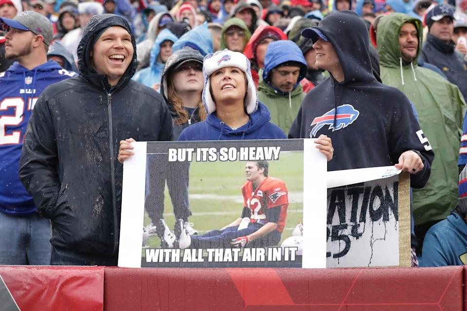 Buffalo Bills fans razzed Tom Brady, but even with a dildo thrown his way, the New England Patriots got the last laugh. (Getty Images)