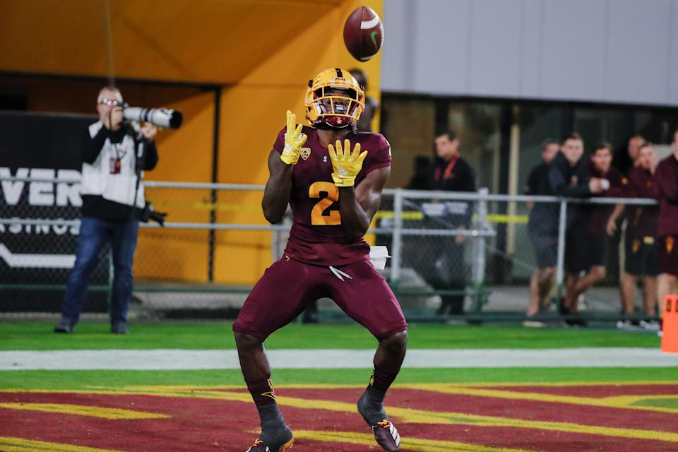 Arizona State's Brandon Aiyuk is also a dangerous kick returner. (Photo by Kevin Abele/Icon Sportswire via Getty Images)