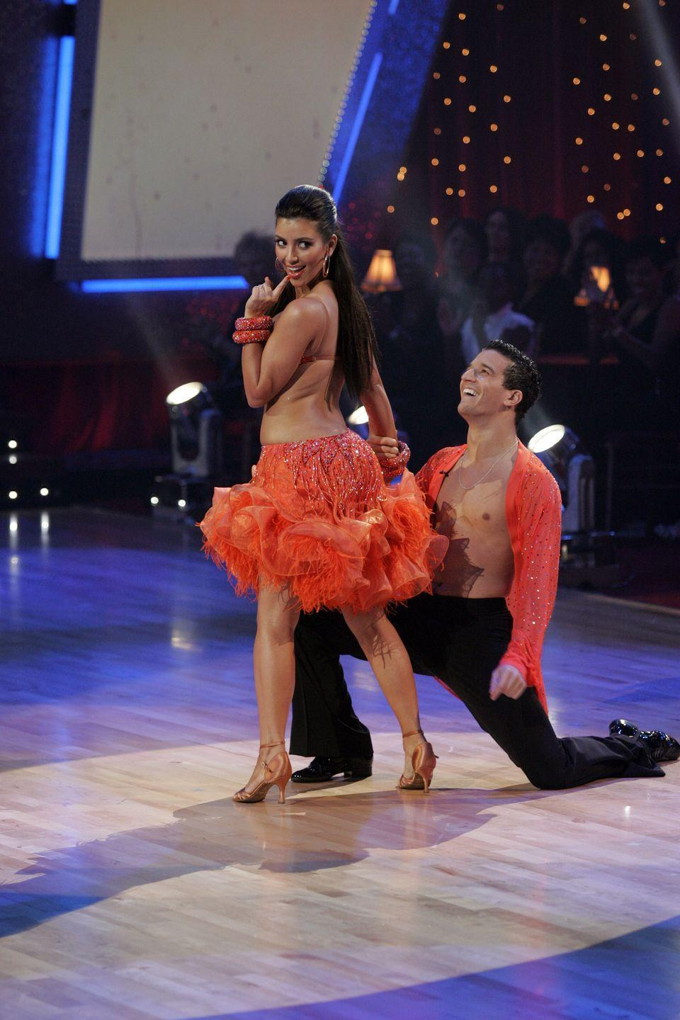 """<p>Despite having poor chemistry with her partner and a lack of confidence in dancing, Kim's most famous asset had a starring role in her mambo in season 7. In rehearsals, pro dancer Mark Ballas tried to show the reality star how to move her hips and rear, but to no avail. The most awkward part? The judges seemed amazed that the bombshell couldn't bring it on the dance floor with Tristan exclaiming, """"Why you have what you've got and don't use it really frustrates me.""""</p>"""