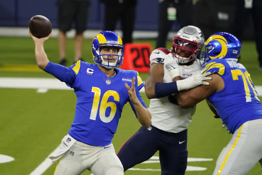 Los Angeles Rams quarterback Jared Goff (16) throws against the New England Patriots during the first half of an NFL football game Thursday, Dec. 10, 2020, in Inglewood, Calif. (AP Photo/Jae C. Hong)