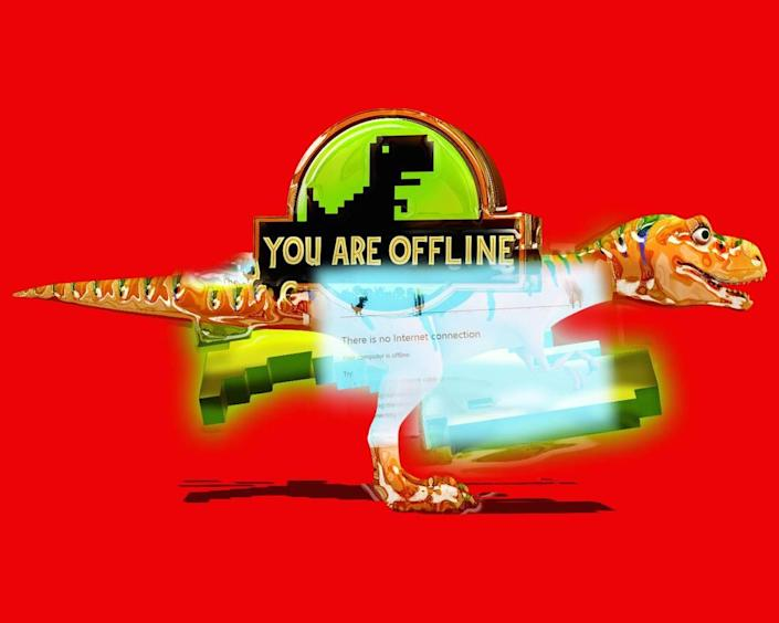 """""""Offline_TREX"""" by the local artist known as fart.pdf is in """"Off the Plantation: The Emancipation"""" exhibit at Elder Gallery of Contemporary Art."""
