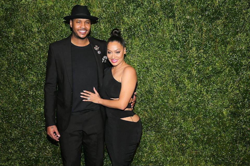 "<p>Basketball player Carmelo Anthony and La La Vasquez have had <a href=""https://people.com/chica/carmelo-and-la-la-anthonys-relationship/?slide=5713867#5713867"" rel=""nofollow noopener"" target=""_blank"" data-ylk=""slk:one heck of a relationship"" class=""link rapid-noclick-resp"">one heck of a relationship</a>. The couple was on and off from 2004 to 2019 when infidelity rumors surfaced for at least the fourth time in their marriage. As of now, the couple is still split.</p>"