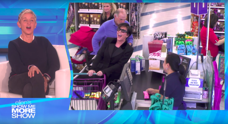 Kris Jenner, who was wearing an earpiece, is seen laughing on cue while shopping at a 99-cent store. (The Ellen Show)