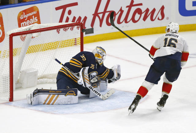 Florida Panther forward Aleksander Barkov (16) puts the puck past Buffalo Sabres goalie Linus Ullmark (35) and hits the post during the shootout of an NHL hockey game, Friday, Oct. 11, 2019, in Buffalo, N.Y. (AP Photo/Jeffrey T. Barnes)