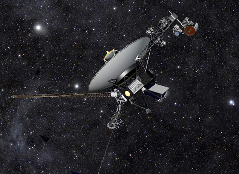 This artist rendering released by NASA shows NASA's Voyager 1 spacecraft barreling through space. The space agency announced Thursday, Sept. 12, 2013 that Voyager 1 has become the first spacecraft to enter interstellar space, or the space between stars, more than three decades after launching from Earth. (AP Photo/NASA)