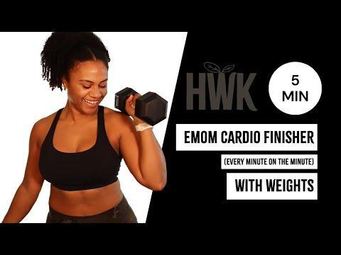 """<p>Cap off a strength training workout with this snappy session, designed to get your heart rate up and push your muscles to the perfect point of fatigue. Alternating between squat presses and tuck jumps, we can promise it's going to be a sweaty one. </p><p><a href=""""https://www.youtube.com/watch?v=wsSYidWNQgQ&ab_channel=HealthyWithKelsey"""" rel=""""nofollow noopener"""" target=""""_blank"""" data-ylk=""""slk:See the original post on Youtube"""" class=""""link rapid-noclick-resp"""">See the original post on Youtube</a></p>"""