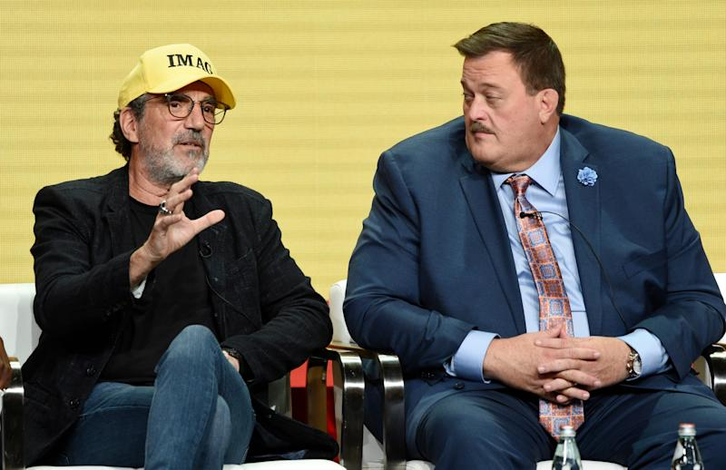 Chuck Lorre, left, wearing his IMAG (Immigrants Make America Great) cap, talks about his new series,