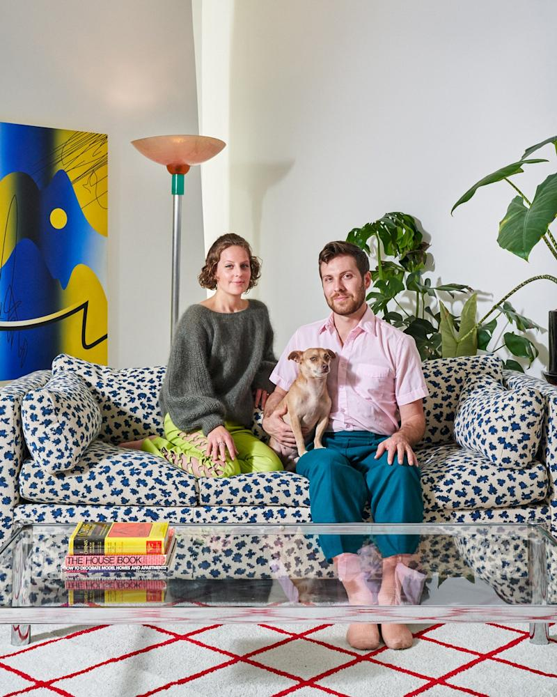 Caitlin, Chris and Carrie sit on an Avery Boardman sofa with what Caitlin calls a composition notebook pattern—a pattern featured in Pitt's Asparagus and which manages to be both elegant and fun.