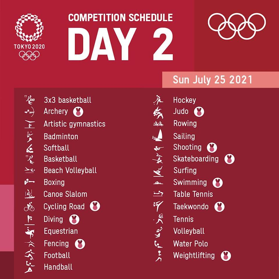 Day 2 schedule for the Tokyo 2020 Olympics