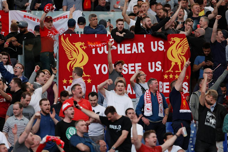 <p>Soccer Football – Champions League Semi Final Second Leg – AS Roma v Liverpool – Stadio Olimpico, Rome, Italy – May 2, 2018 Liverpool fans Action Images via Reuters/John Sibley </p>