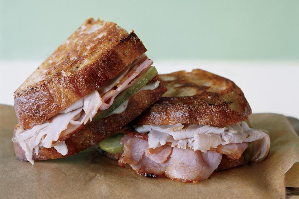 """This two-in-one indulgence has the irresistible makings of a Cuban sandwich, including Swiss cheese, pickles, and sliced meats—but it's also dipped in egg batter and fried like a Monte Cristo. <a href=""""https://www.epicurious.com/recipes/food/views/monte-cubano-351851?mbid=synd_yahoo_rss"""" rel=""""nofollow noopener"""" target=""""_blank"""" data-ylk=""""slk:See recipe."""" class=""""link rapid-noclick-resp"""">See recipe.</a>"""