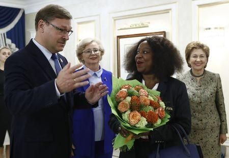 FIFA Secretary General Fatma Samoura meets with Russian lawmaker Konstantin Kosachev, chairman of the international affairs committee of Russia's upper house of parliament, in Moscow, Russia July 11, 2018. REUTERS/Sergei Karpukhin