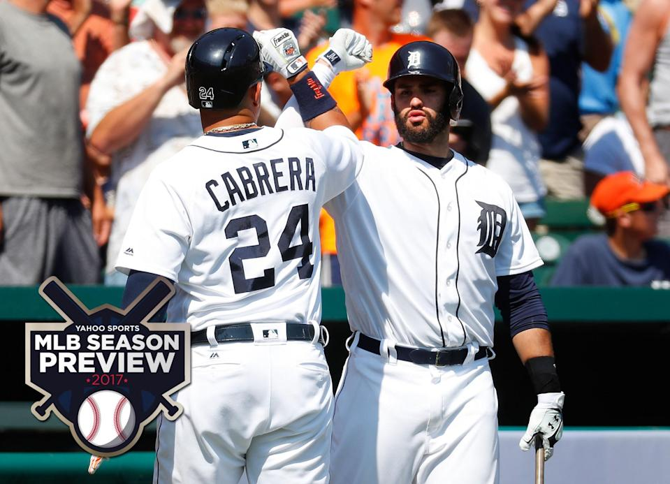 Miguel Cabrera always give the Tigers hope and free-agent-to-be J.D. Martinez (right) is one of the keys on the Tigers' roster. (AP)