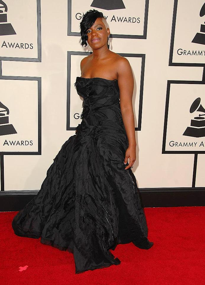 "Grammy nominee and former ""American Idol"" winner Fantasia impressed in a flattering black gown. Unfortunately, her skunk-like 'do stole the spotlight. Steve Granitz/<a href=""http://www.wireimage.com"" target=""new"">WireImage.com</a> - February 10, 2008"