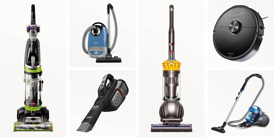 """<p>Vacuums can be a big investment and often lead to disappointment if they turn out to be too heavy and cumbersome or not powerful enough. As always, a little research can go a long way to helping you find one that works for your household needs; for that, keep reading just below about the types of vacuums. Or scroll down to our reviews of the best models—from the inexpensive to the high-end, the lightweight to the heavy-duty—which we evaluated and recommend you consider.</p><h3 class=""""body-h3"""">Types of Vacuums to Consider</h3><p><strong>Upright:</strong> Upright models are likely what you imagine when you think of a vacuum cleaner. All with a tilt-and-push design, they come in bagged or bagless models. They're traditionally best for deep-cleaning carpets, but if you want one that's good for hardwood floors, you should look for options that allow you to turn the brush roll off. They're also known for being heavy and less versatile than canister vacs, but there are plenty of lightweight and multi-functional uprights for you to consider.</p><p><strong>Canister:</strong> With a tank and hose, these vacuums are designed to accommodate a ton of different attachments, so you can use them to clean just about anything, like reaching ceiling corners or up the stairs. However, some models may also be heavy to carry around the house. </p><p><strong>Stick:</strong> Though similar to upright vacuums, stick vacuums are much slimmer and more lightweight. They similarly use a rotating brush to pull up dirt and debris, though they generally have lower suction power. However, they're great for quick cleanup around the house, and some even convert to a removable handheld vac. </p><p><strong>Handheld: </strong>These <a href=""""https://www.popularmechanics.com/home/tools/a30715284/best-handheld-vacuums/"""" rel=""""nofollow noopener"""" target=""""_blank"""" data-ylk=""""slk:lightweight and portable vacuums"""" class=""""link rapid-noclick-resp"""">lightweight and portable vacuums </a>make it easy to clean around """