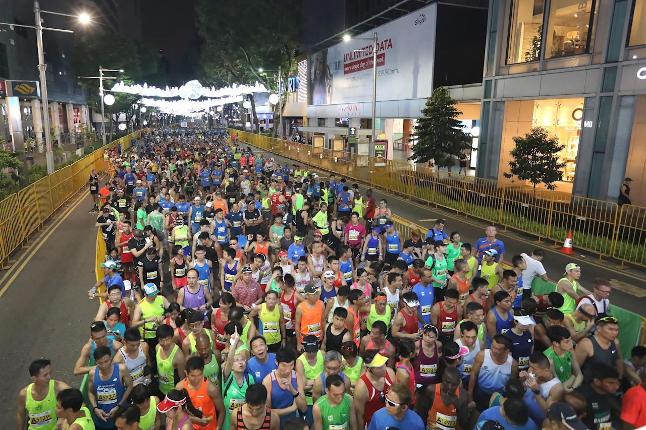 <p>More than 27,000 race runners gather at the start line along Orchard Road for the full, half-marathon and ekiden flag off of the Standard Chartered Singapore Marathon 2017 early morning of 3 December 2017.<br /> Photo: Standard Chartered Singapore Marathon 2017 </p>