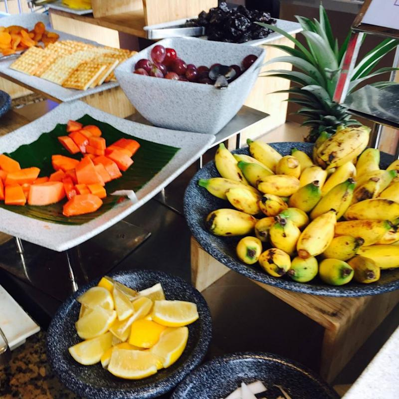 The wellbeing section of the buffet offers a great selection of healthy and low calorie food options