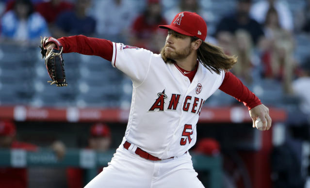 Los Angeles Angels starting pitcher Dillon Peters throws to a Cleveland Indians batter during the first inning of a baseball game Wednesday, Sept. 11, 2019, in Anaheim, Calif. (AP Photo/Marcio Jose Sanchez)