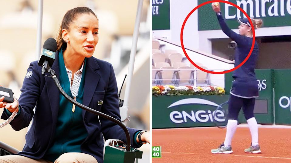 Chair Umpire Marijana Veljovic (pictured left) arguing after she called a time violation as Laura Siegemund (pictured right) was about to serve.