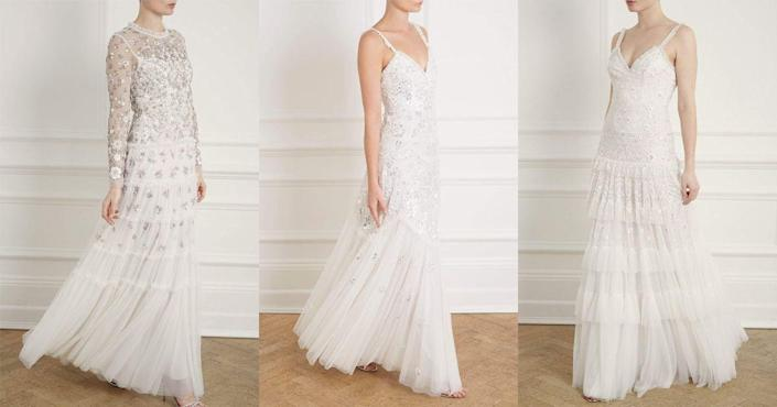 "<p>The beyond-dreamy dresses that <a href=""http://www.needleandthread.com/uk/all-bridalwear/dresses/sort-by/price/sort-direction/desc"" rel=""nofollow noopener"" target=""_blank"" data-ylk=""slk:Needle & Thread"" class=""link rapid-noclick-resp"">Needle & Thread</a> lovingly create every season are so worthy of wedding day material they make us want to get married on the spot. The latest collection makes us want to type the heart-eye emoji over and over again - and they even have veils and a cape. Obsessed.</p><p>(L) Fallen petals long sleeve bridal gown, £859 <a class=""link rapid-noclick-resp"" href=""https://go.redirectingat.com?id=127X1599956&url=https%3A%2F%2Fwww.needleandthread.com%2Fcollections%2Fbridal%2Fproducts%2Ffallen-petals-long-sleeve-bridal-gown-ivory&sref=http%3A%2F%2Fwww.cosmopolitan.com%2Fuk%2Ffashion%2Fstyle%2Fg4924%2Fhigh-street-brands-that-sell-wedding-dresses%2F"" rel=""nofollow noopener"" target=""_blank"" data-ylk=""slk:BUY NOW"">BUY NOW</a></p><p>(M) Tiered gloss bridal gown, £725 <a class=""link rapid-noclick-resp"" href=""https://go.redirectingat.com?id=127X1599956&url=https%3A%2F%2Fwww.needleandthread.com%2Fcollections%2Fbridal%2Fproducts%2Ftiered-gloss-cami-gown-ivory&sref=http%3A%2F%2Fwww.cosmopolitan.com%2Fuk%2Ffashion%2Fstyle%2Fg4924%2Fhigh-street-brands-that-sell-wedding-dresses%2F"" rel=""nofollow noopener"" target=""_blank"" data-ylk=""slk:BUY NOW"">BUY NOW</a></p><p>(R) Gracie cami bridal gown, £800 <a class=""link rapid-noclick-resp"" href=""https://go.redirectingat.com?id=127X1599956&url=https%3A%2F%2Fwww.needleandthread.com%2Fcollections%2Fbridal%2Fproducts%2Fgracie-cami-bridal-gown-ivory&sref=http%3A%2F%2Fwww.cosmopolitan.com%2Fuk%2Ffashion%2Fstyle%2Fg4924%2Fhigh-street-brands-that-sell-wedding-dresses%2F"" rel=""nofollow noopener"" target=""_blank"" data-ylk=""slk:BUY NOW"">BUY NOW</a> </p>"