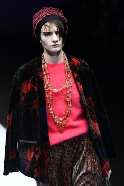 """Giorgio Armani launched his new collection """"Atmosphere"""" in Milan on Saturday, proclaiming his deep-rooted classicism against extravagant theatrical trends"""