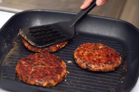Canola protein burgers at Burcon's alternative meats protein lab in Winnipeg