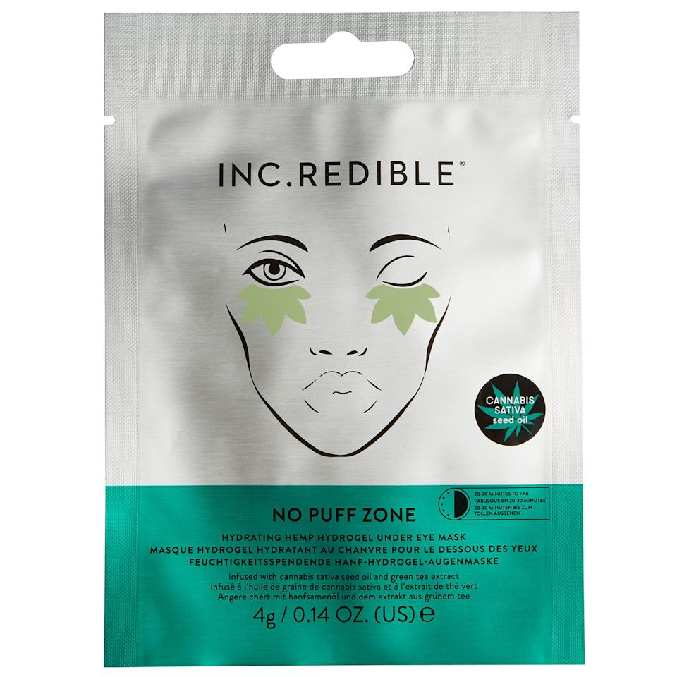 """<p>Inc.Credible's new No Puff Zone Hydrating Hemp Hydrogel Under Eye Mask is as effective as it is adorable. Infused with cannabis sativa seed oil as well as glycerin and hydrating cucumber fruit extract, the cheeky leaf-shaped hydrogel patches revitalize the undereye area in just 20 minutes flat. Tack 'em on after a late night and no one will know you only slept three hours because your skin will look so bright.</p> <p><strong>$9</strong> (<a href=""""https://shop-links.co/1685253607411061404"""" rel=""""nofollow"""">Shop Now</a>)</p>"""