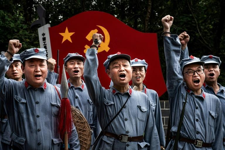 China's Communist Party has put a propaganda campaign into overdrive with movies, history tours and well-timed space missions
