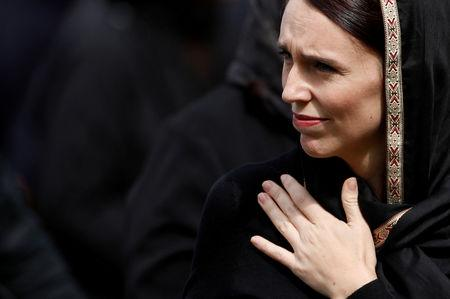 FILE PHOTO: New Zealand's Prime Minister Jacinda Ardern leaves after the Friday prayers at Hagley Park outside Al-Noor mosque in Christchurch, New Zealand March 22, 2019. REUTERS/Jorge Silva/File Photo