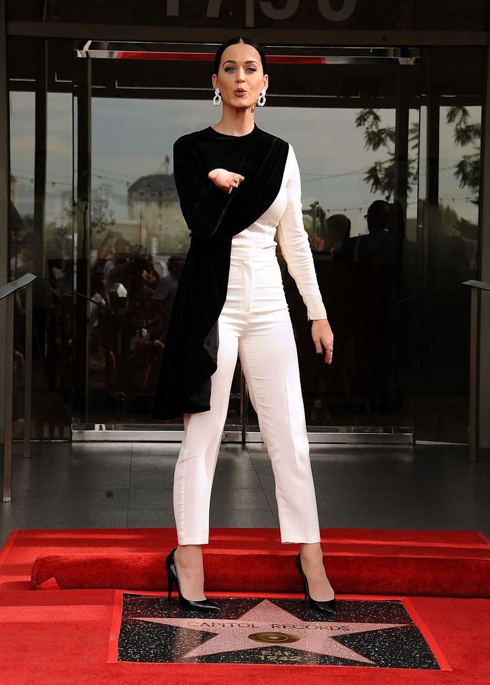 <p>Katy Perry attends the ceremony honoring Capitol Records by the Hollywood Chamber of Commerce with a 'Star of Recognition' at Capitol Records Tower on November 15, 2016 in Los Angeles, California.</p>