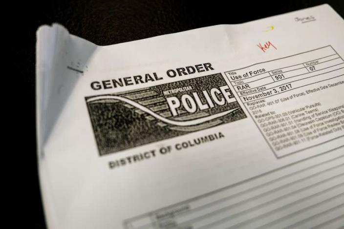Washington, D.C. Police Department use of force directive is seen during training for special police recruits in Maryland